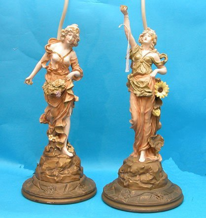 1017: Pr. of Royal Dux style figural maiden lamps on ca