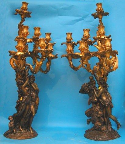 1035: Pair of massive dore' bronze 7-light candelabra,