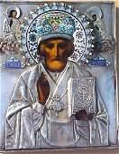 1208E Russian silver enamel icon St Nicholas