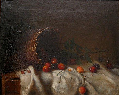 1258: Anton Sitzer, oil on canvas, dated 1908, still li