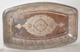 Persian 84 Silver Platter By Khosrow. The Platter Has