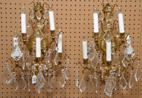 Pair 5 Light Brass & Crystal Sconces. Ht. 19""""