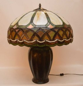 "Tiffany Style Lamp With Green Patina, 26""""h"