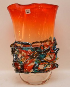 "Large Murano Glass Vase, 20""""h"