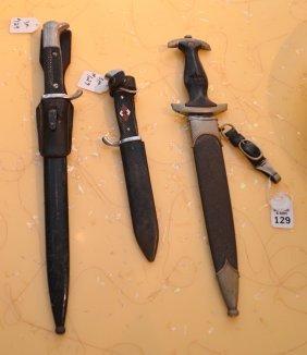 "3 Wwii German Daggers, 14"" , 14"" , & 10"""" Nazi"