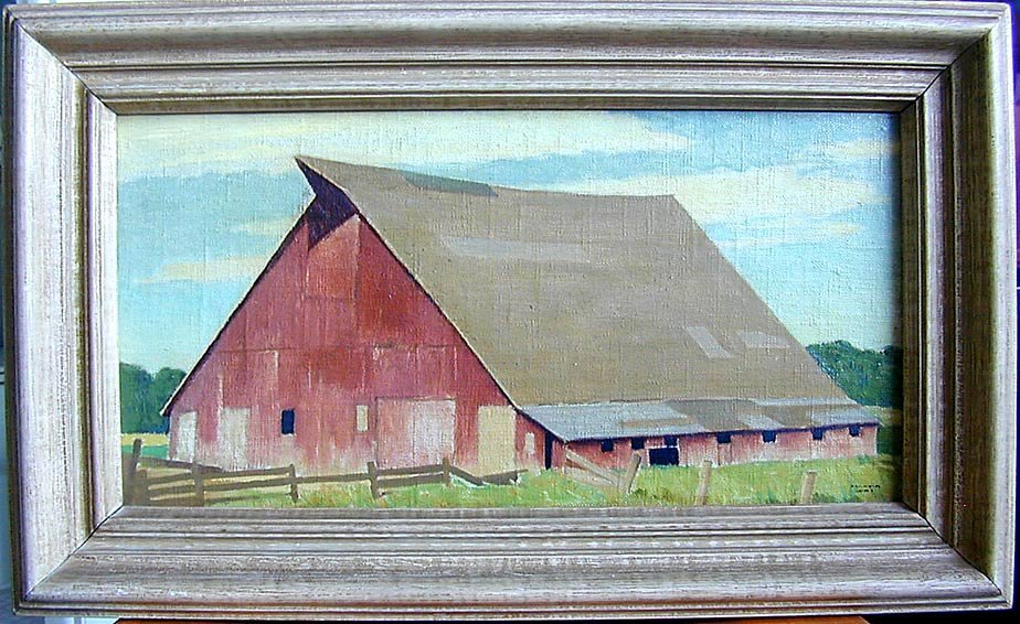 MARVIN CONE (Amer 1891-1904) Oil Painting Red Barn