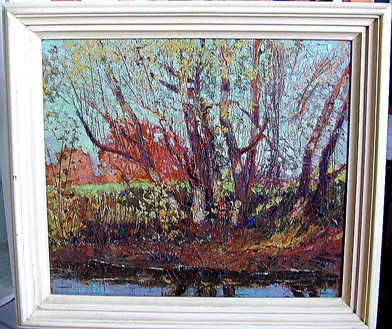 GRANT WOOD (Amer 1891-1942) 1928 Oil autumn landscape