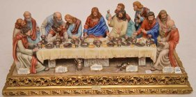 A Capodimonte Porcelain Group Of The Last Supper, 2nd