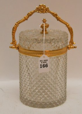 French Crystal & Gilt Metal Jar Possibly Baccarat. Ht.