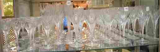 46 Piece Cut Crystal Stemware Set, various sizes