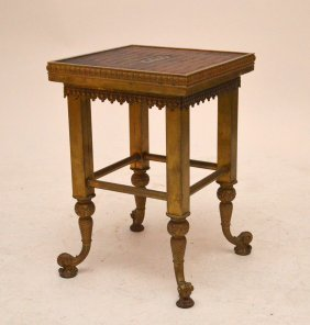 Victorian Brass Table / Stool With Alligator Top And
