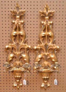 Italian Hand Carved Wood Double Branch Gilded Wall