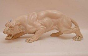 """Heavy Sculpture Of Fierce Animal, 8 1/2""""""""h X 21""""""""w"""