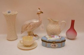 "6pc. Porcelain Lot, Limoges France Box (3""""h), Belleek"