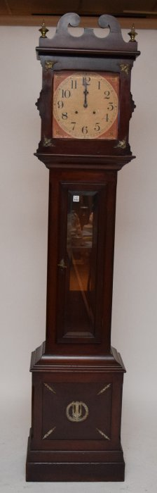 Grandfather Clock With Painted Tin Face, Mahogany Case