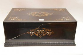 Box With Brass Inlay And Mother Of Pearl Inlay, Half