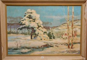 Ted Drake Oil On Board Winter Snow Scene, Probably