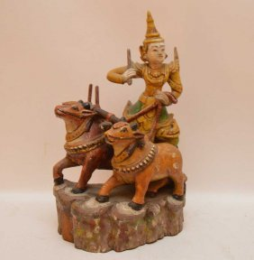 Wood, Late 1800's Tibetan Herder With 2 Oxen On