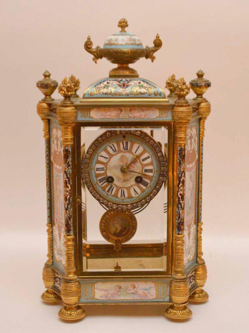 Antique French Gilt Bronze & Enamel Clock