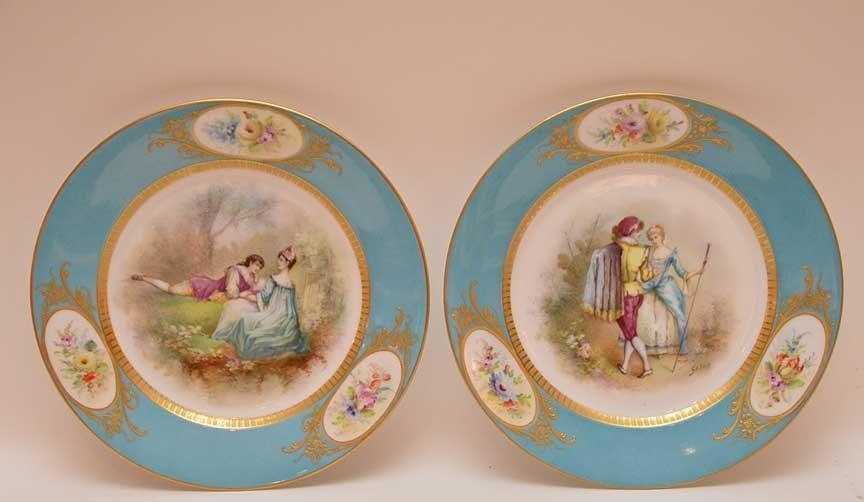 Pair Antique Sevres Portrait Plates.  Each Artist