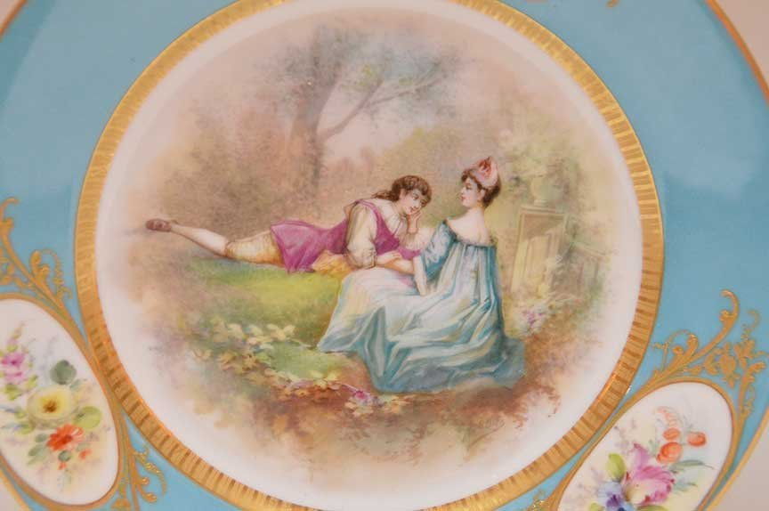 Pair Antique Sevres Portrait Plates.  Each Artist - 3