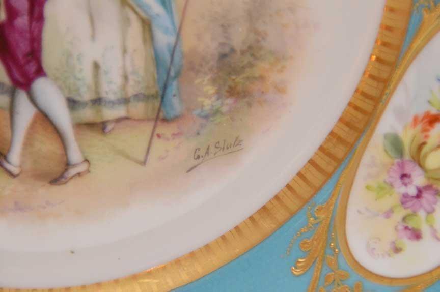 Pair Antique Sevres Portrait Plates.  Each Artist - 4