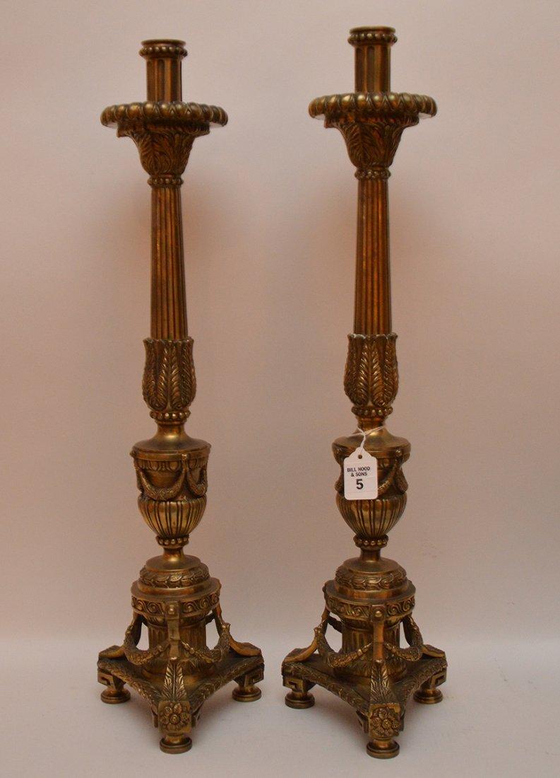 """Pair Continental Bronze Candlesticks.  Ht. 25"""""""