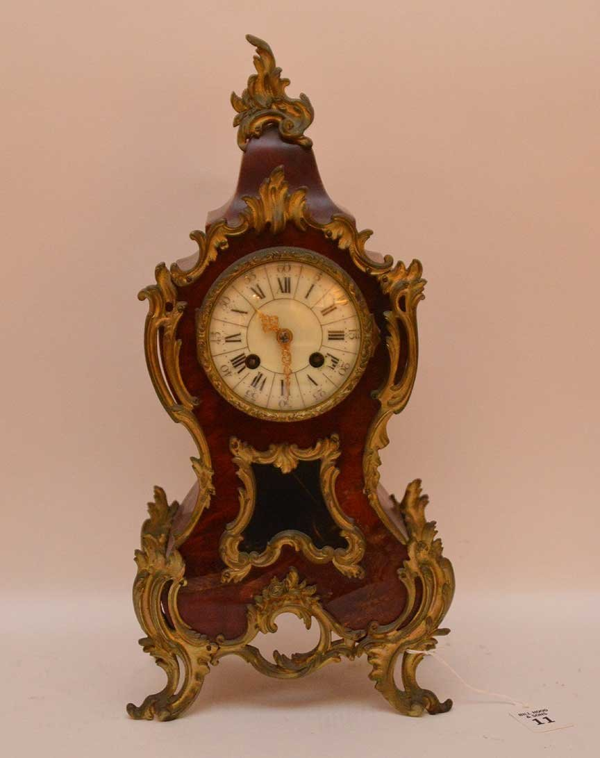 Antique Bronze Mounted Clock with time and strike