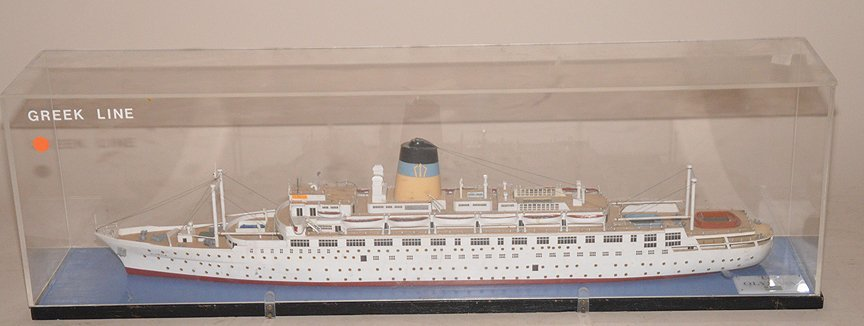 T.S.S. Olympia Greek Line model ship, wood construct, 1