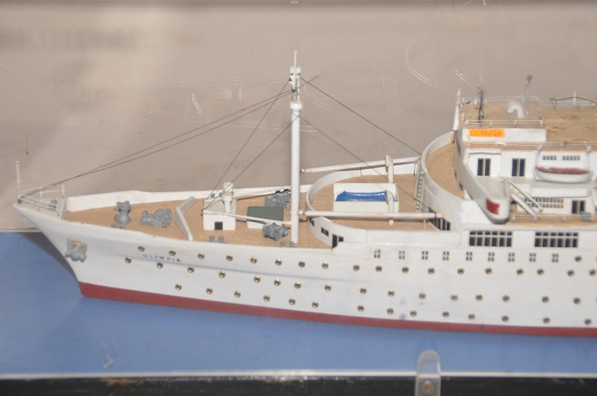 T.S.S. Olympia Greek Line model ship, wood construct, 1 - 2