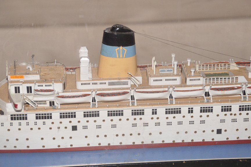 T.S.S. Olympia Greek Line model ship, wood construct, 1 - 3