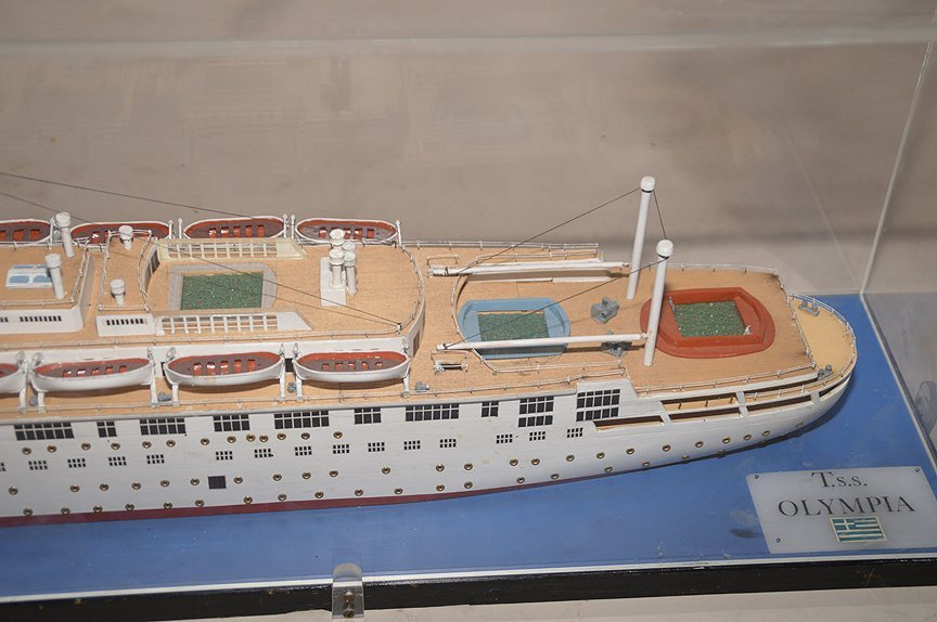 T.S.S. Olympia Greek Line model ship, wood construct, 1 - 4
