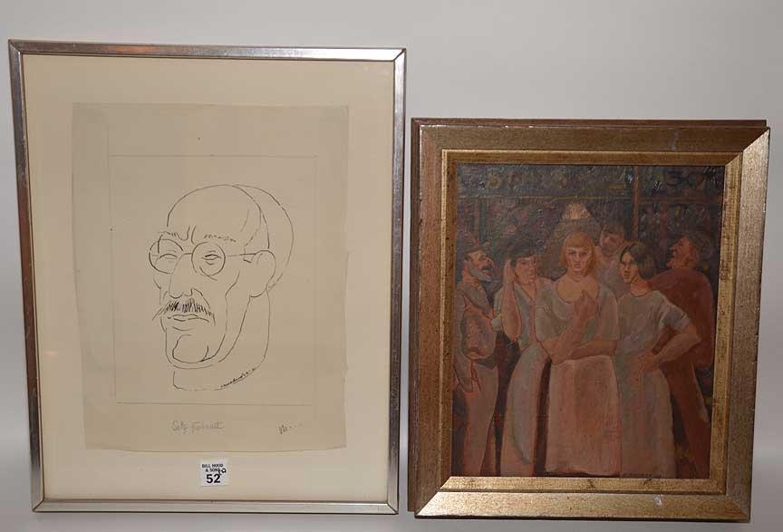 2 Paintings Horace Brodzky australian fish shop self