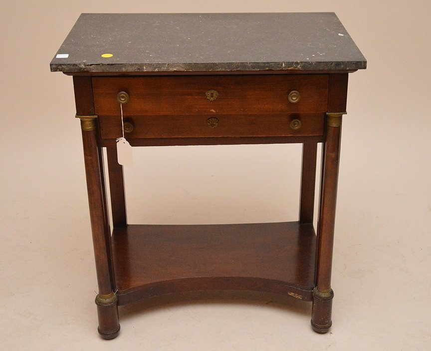 19th c. Empire mahogany 2 drawer stand, black marble