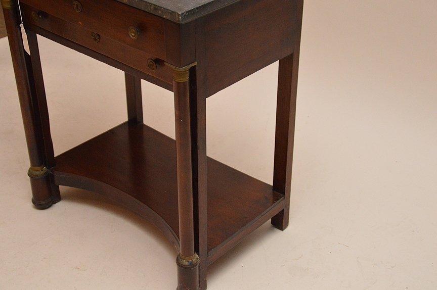 19th c. Empire mahogany 2 drawer stand, black marble - 3