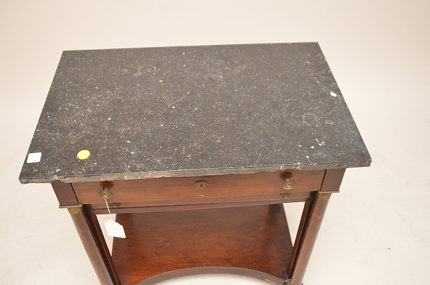 19th c. Empire mahogany 2 drawer stand, black marble - 4