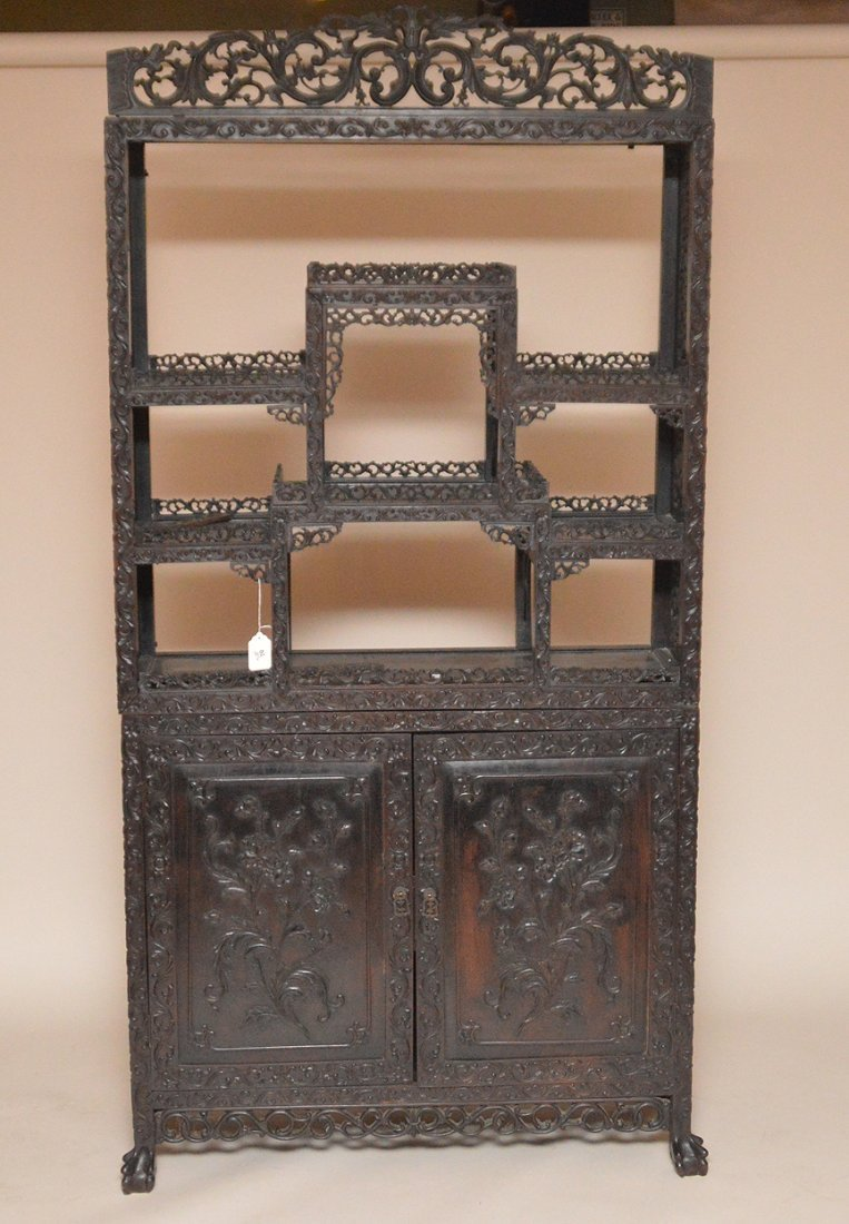 Carved Chinese Rosewood display cabinet series of open