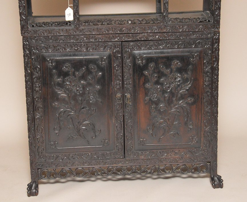 Carved Chinese Rosewood display cabinet series of open - 2