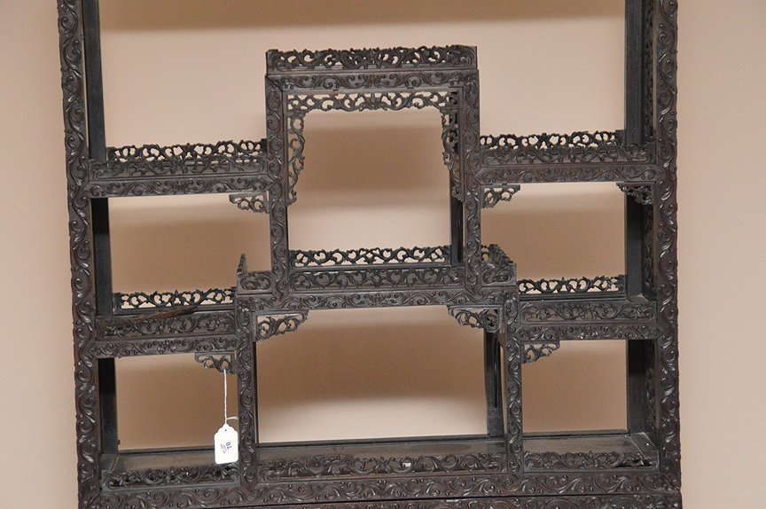 Carved Chinese Rosewood display cabinet series of open - 3