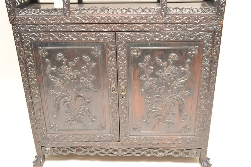 Carved Chinese Rosewood display cabinet series of open - 4