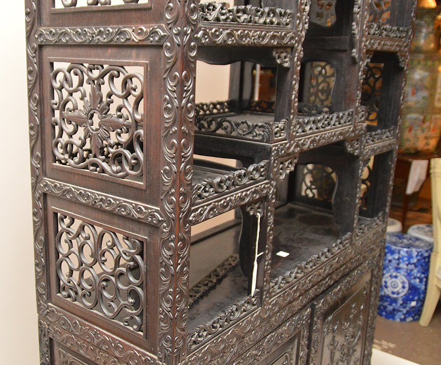 Carved Chinese Rosewood display cabinet series of open - 5