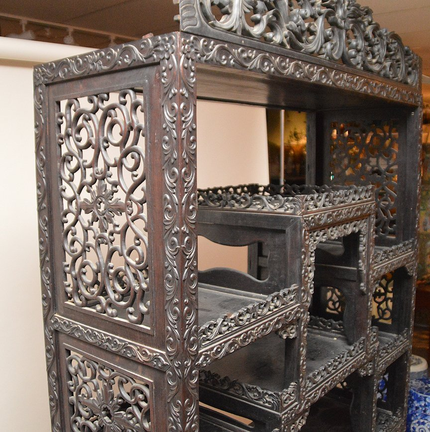 Carved Chinese Rosewood display cabinet series of open - 6