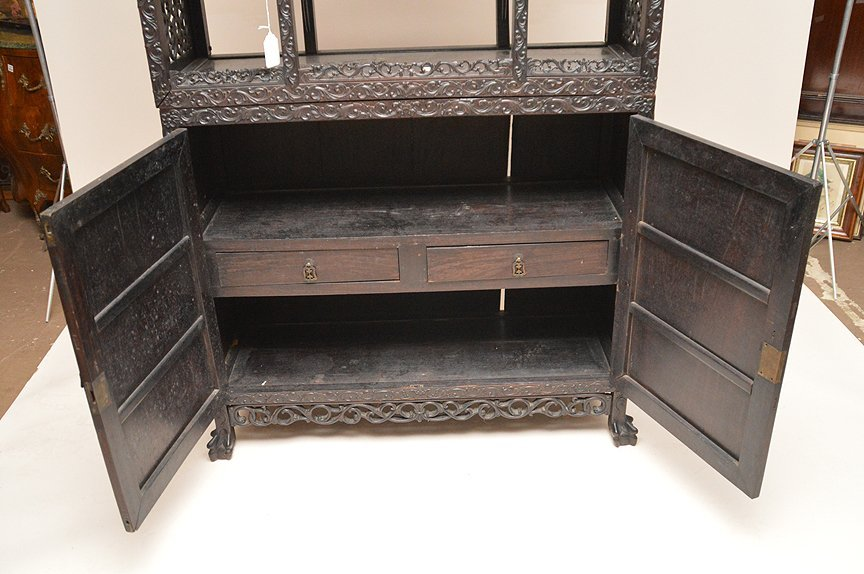 Carved Chinese Rosewood display cabinet series of open - 8