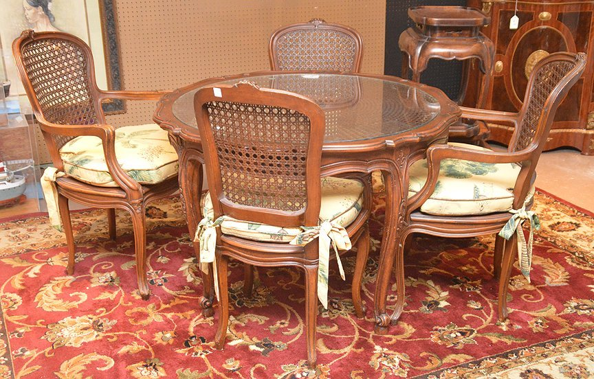 French style dining table with 4 matching chairs, caned