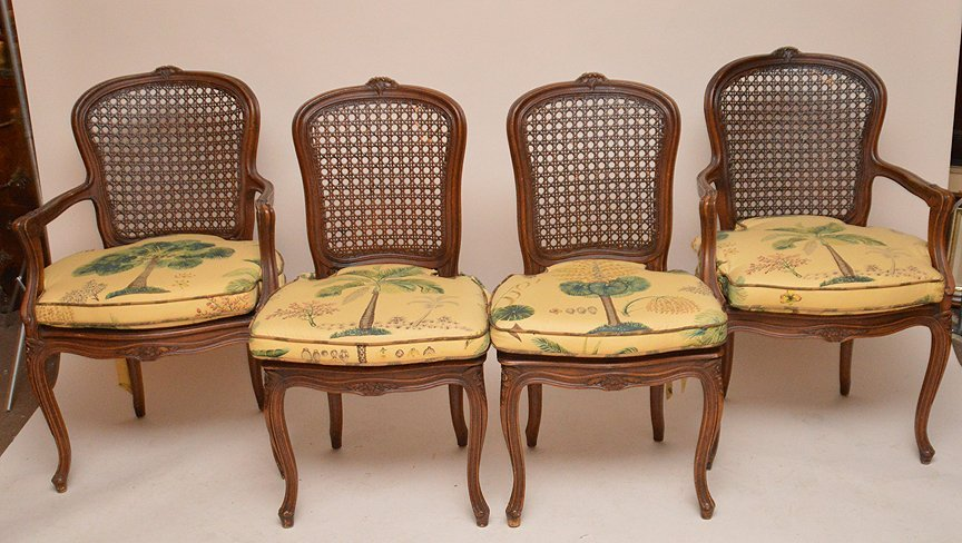 French style dining table with 4 matching chairs, caned - 5