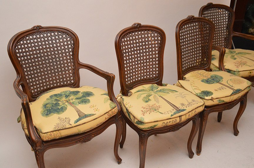 French style dining table with 4 matching chairs, caned - 7