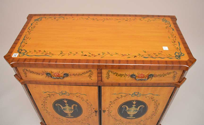 ADAMS satin wood style cabinet, hand painted drawers - 4