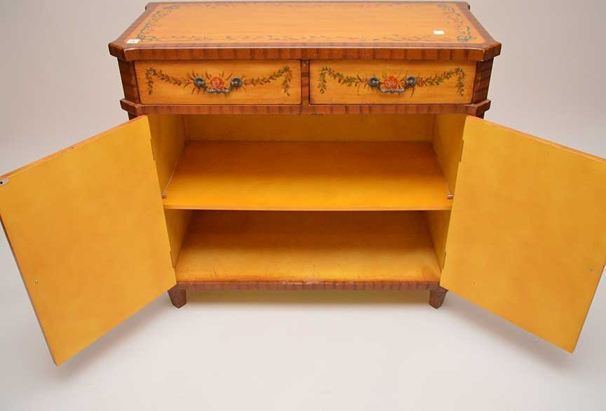 ADAMS satin wood style cabinet, hand painted drawers - 5