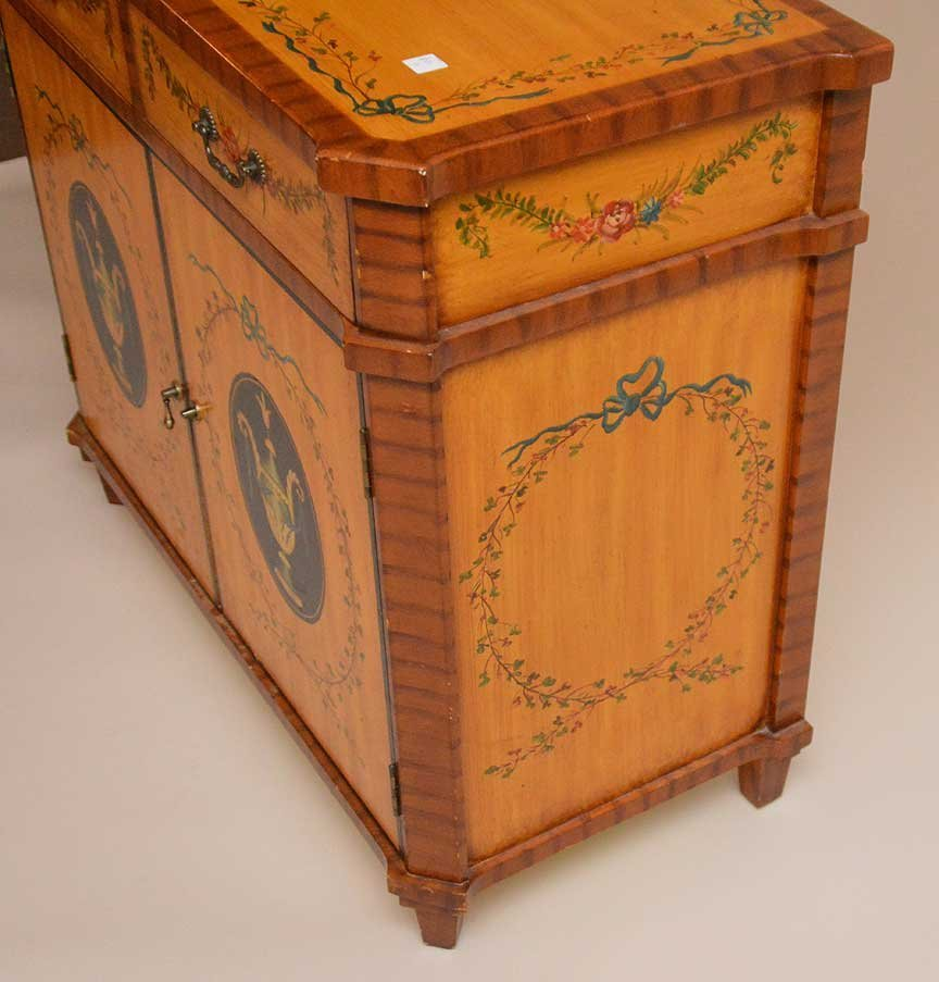 ADAMS satin wood style cabinet, hand painted drawers - 6