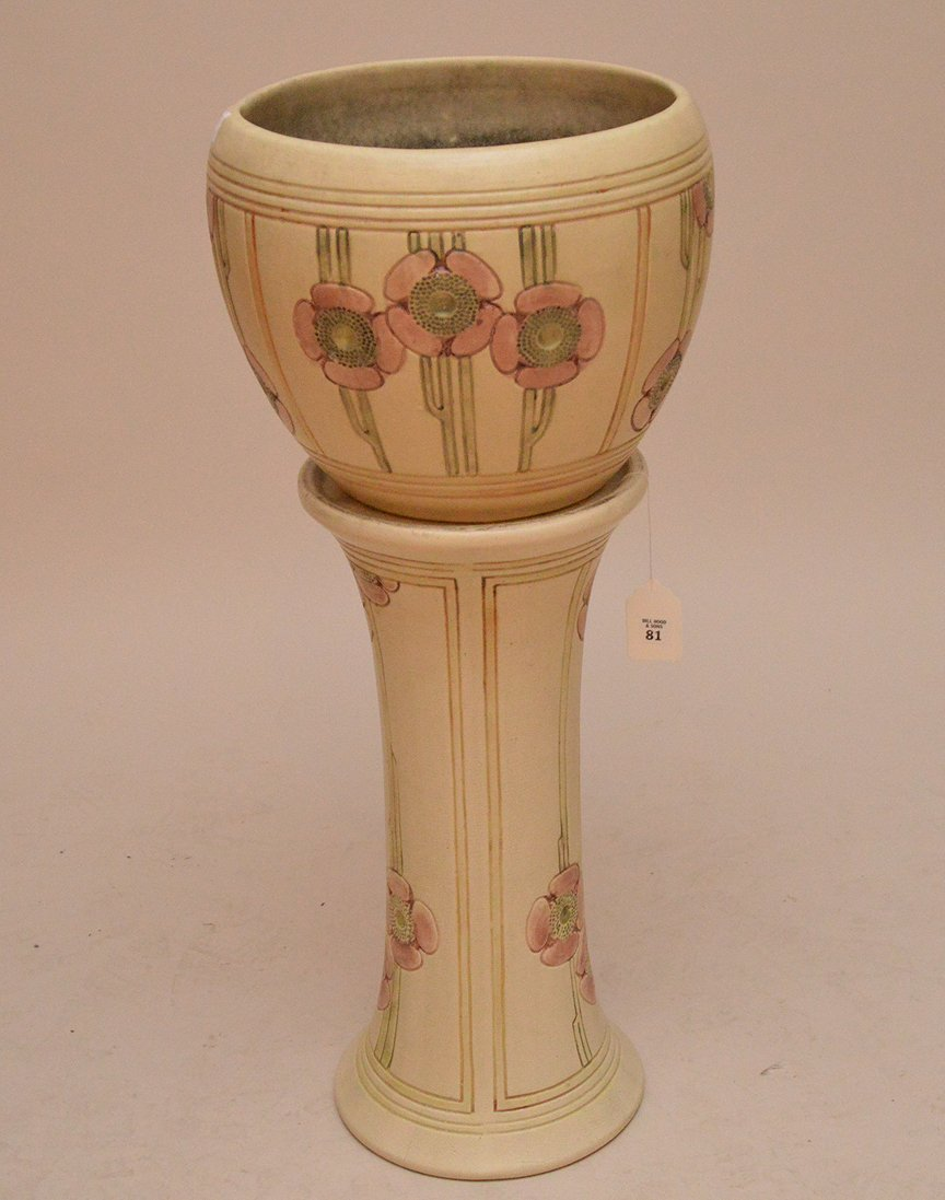"""Weller pottery """"Flemish"""" pattern jardinire and stand,"""